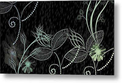 Flowers And Rain Metal Print