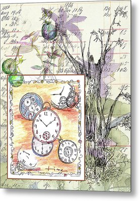Metal Print featuring the drawing Flowers And Time by Cathie Richardson