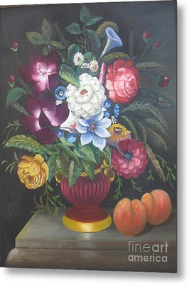 Flowers And Two Peaches Metal Print
