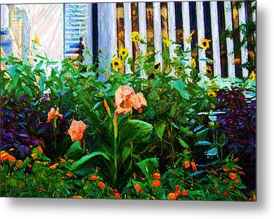 Flowers At The Fountain Of The Plaza Hotel Metal Print by Randy Aveille