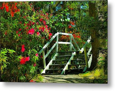Flowers Bloom Alongside Magnolia Plantation Bridge - Charleston Sc Metal Print