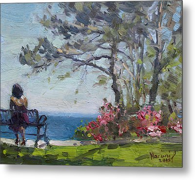 Flowers By Lake Ontario Metal Print by Ylli Haruni