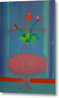 Metal Print featuring the painting Flowers In A Bay Window by Charles Stuart