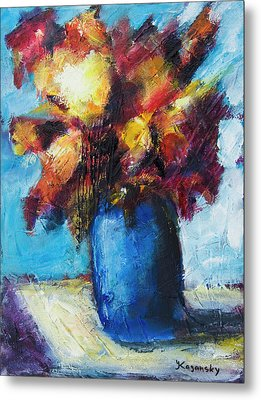 Metal Print featuring the painting Flowers In A Blue Vase. by Yulia Kazansky