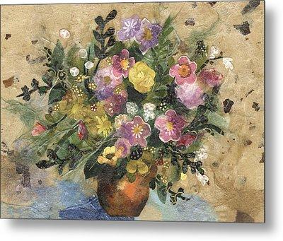 Flowers In A Clay Vase Metal Print by Nira Schwartz