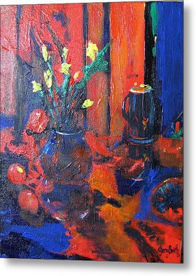 Flowers In Blue Vase Metal Print by Gary Smith