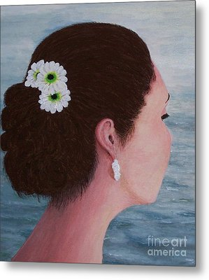 Flowers In Her Hair Metal Print by Judy Kirouac