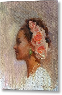 Pretty Flowers - Impressionistic Portrait Of Young Woman Metal Print by Karen Whitworth