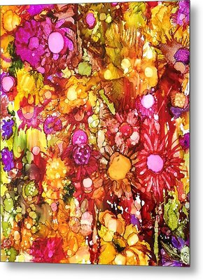 Flowers In Yellow And Pink Metal Print by Suzanne Canner