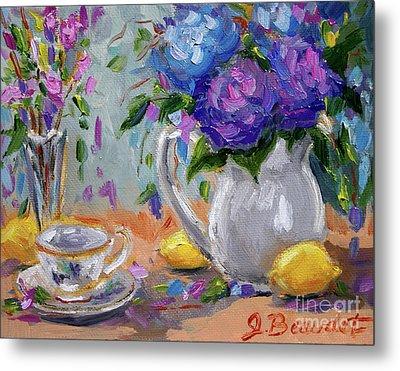 Metal Print featuring the painting Flowers Lemons by Jennifer Beaudet