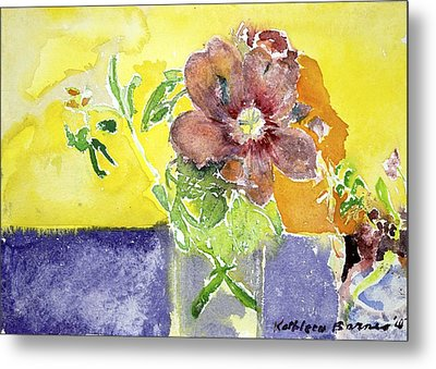 Flowers On A Blue Table Metal Print