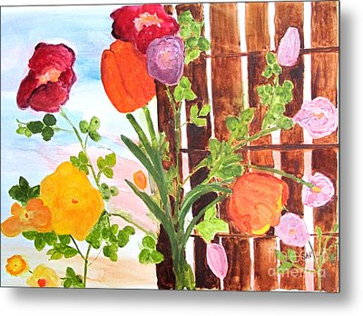 Metal Print featuring the painting Flowers On A Fence by Sandy McIntire