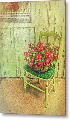 Metal Print featuring the photograph Flowers On Green Chair by Lewis Mann