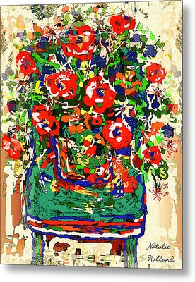 Flowers On Green Chair Metal Print by Natalie Holland