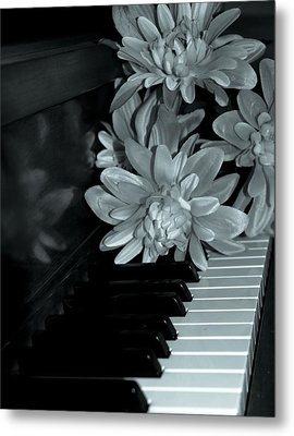 Flowers On Piano Keys Metal Print
