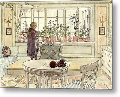Flowers On The Windowsill Metal Print by Carl Larsson