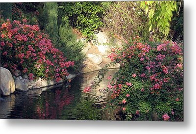 Metal Print featuring the photograph Flowers Over Pond by Amanda Eberly-Kudamik
