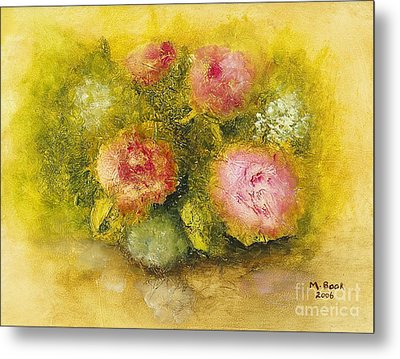 Metal Print featuring the painting Flowers Pink by Marlene Book