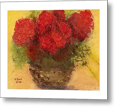 Metal Print featuring the mixed media Flowers Red by Marlene Book