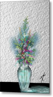 Metal Print featuring the digital art Flowers Study Two by Darren Cannell