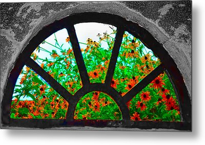 Flowers Through Basement Window At Monticello Metal Print by Bill Cannon