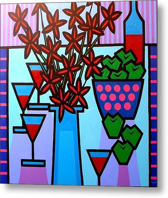 Flowers Wine Apples Metal Print by John  Nolan