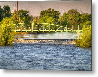 Flowing Kern River Walk And Bridge Metal Print