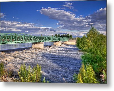 Flowing River And Bridge Metal Print