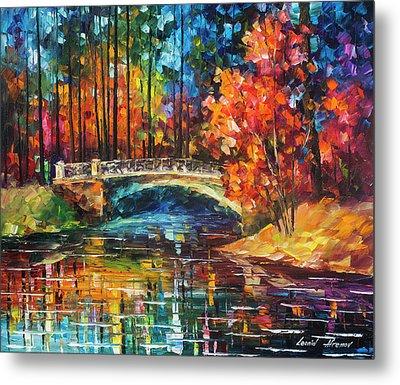 Flowing Under The Bridge  Metal Print by Leonid Afremov