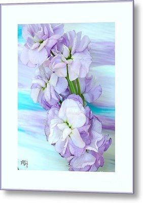 Metal Print featuring the mixed media Fluffy Flowers by Marsha Heiken