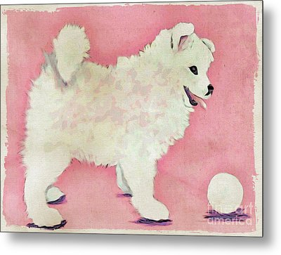 Fluffy Pup Metal Print