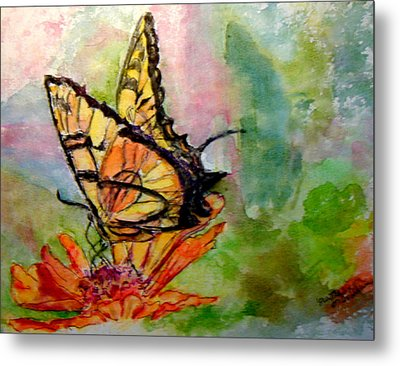 Flutterby - Watercolor Metal Print by Donna Hanna