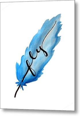 Fly Blue Feather Vertical Metal Print