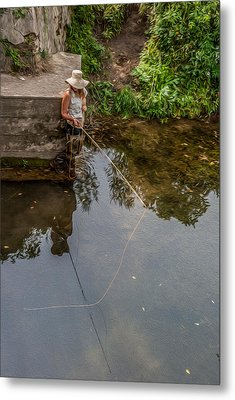Fly Fisher Gal Metal Print