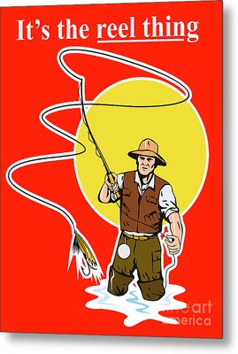 Fly Fisherman  Metal Print by Aloysius Patrimonio