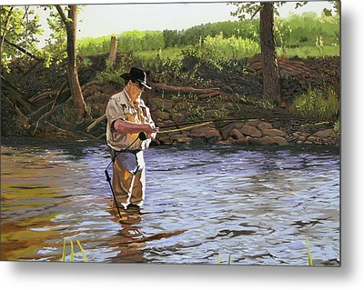 Fly Fisherman Metal Print by Kenneth Young