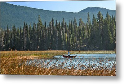 Fly Fishing Hosmer Lake Larry Darnell Metal Print by Larry Darnell
