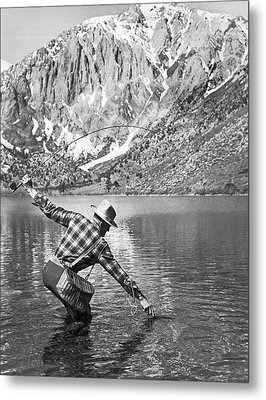 Fly Fishing In A Mountain Lake Metal Print by Underwood Archives