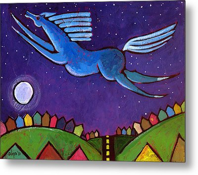 Metal Print featuring the painting Fly Free From Normal by Angela Treat Lyon