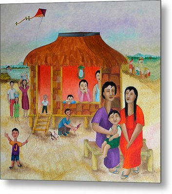 Flying A Kite With James  Metal Print by Miriam Besa