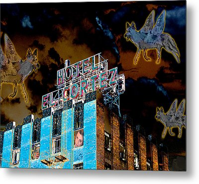 Flying Coyotes Circling The El Cortez Hotel Metal Print by Ann Tracy