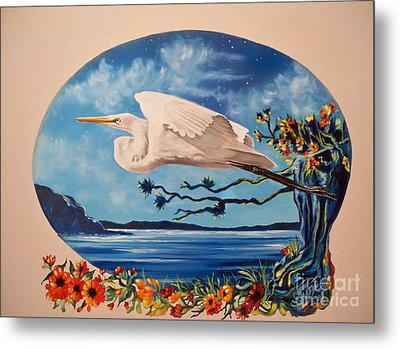 Metal Print featuring the painting Flying Egret by Sigrid Tune