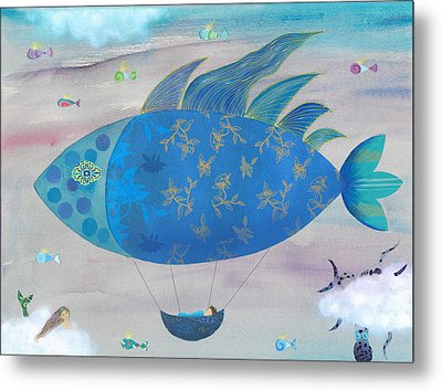 Flying Fish In Sea Of Clouds With Sleeping Child Metal Print by Sukilopi Art