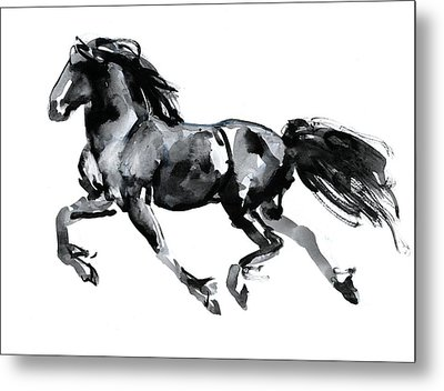 Flying Friesian Metal Print by Mark Adlington