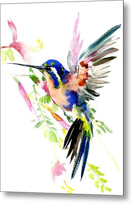 Flying Hummingbird Ltramarine Blue Peach Colors Metal Print by Suren Nersisyan