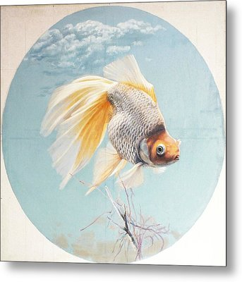 Flying In The Clouds Of Goldfish Metal Print by Chen Baoyi
