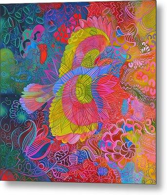 Flying Indian Roller Bird Metal Print by Jane Tattersfield