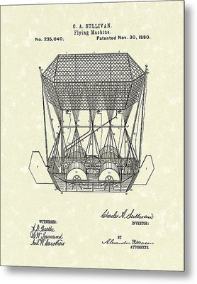 Flying Machine 1880 Patent Art Metal Print