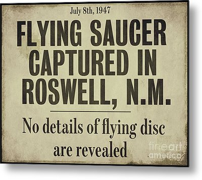 Flying Saucer Roswell Newspaper Metal Print by Mindy Sommers