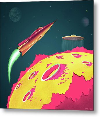 Flying Saucers Attack Metal Print by Little Bunny Sunshine